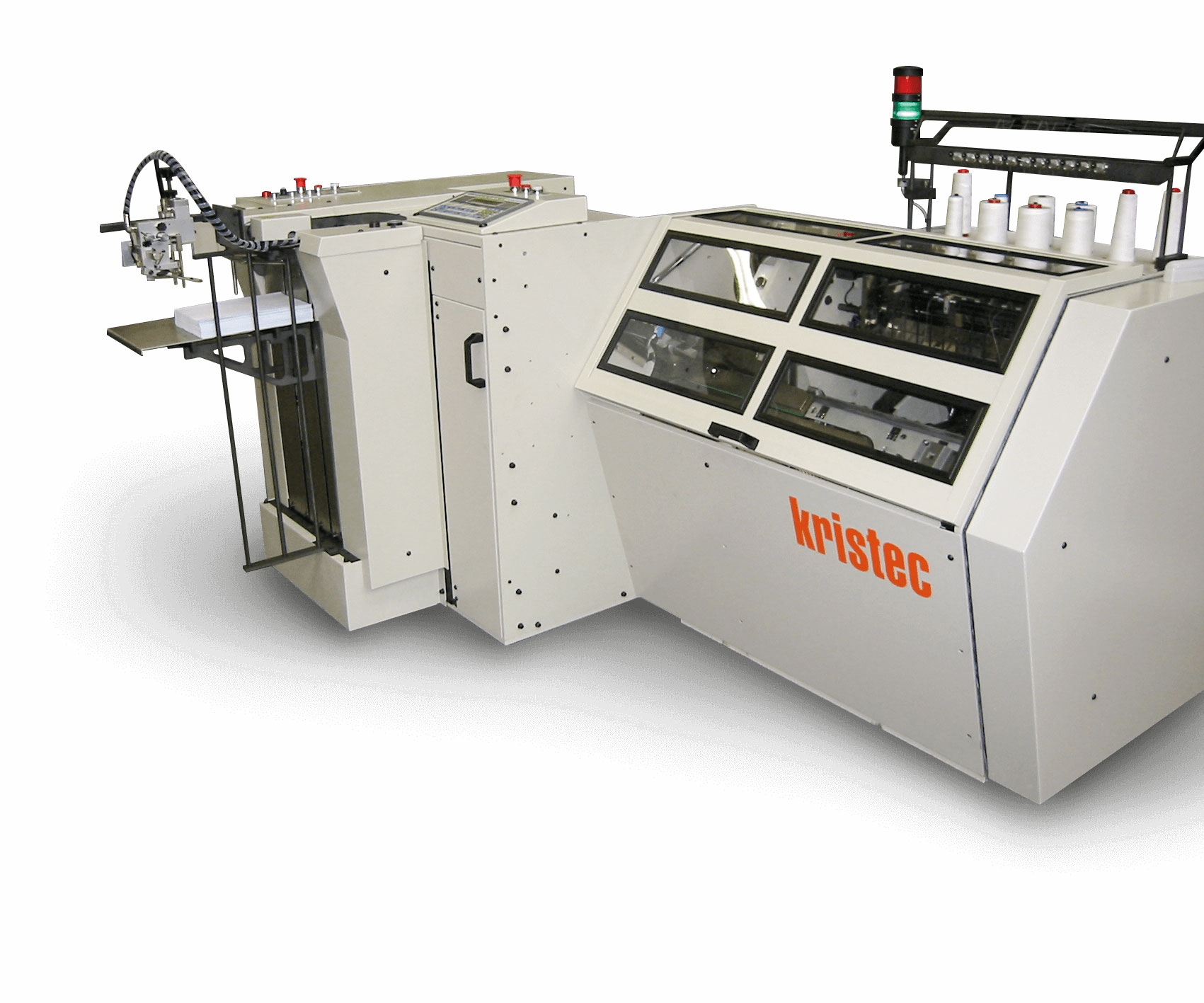 Kristec, automatic book folding and sewing machine for digital print finishing.
